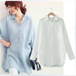 Wholesale White Boyfriend Shirt - Plus Size Blouse Ladies Casual Boyfriend Loose Batwing Long Sleeve Blouse Women Cotton Long Blouse Blue White Linen Shirt XXXL