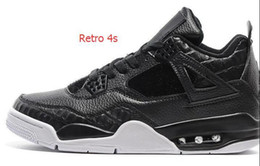 Wholesale Hair Tassel - Wholesale Air Retro 4 Black white Horse Hair Top quality basketball shoes Best Sports Shoes Leather Men Basketball Shoes Retro 4S Sneakers