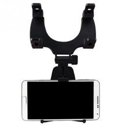 Wholesale Car Mirror Mount - Adjustable Car Auto Rearview Mirror Mount Cell Phone Holder Bracket Stands For Samsung xiaomi Huawei For iphone 8x Mobile Phone GPS