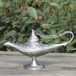 Wholesale Tea Craft Gifts - Metal Vintage tea pot home decoration pewter plated craft retro gifts Aladdin Lamp with exquisite designs
