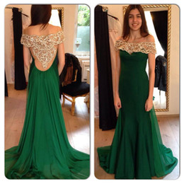 Wholesale Emerald Green One Shoulder Dress - Elegant Emerald Green Prom Dresses 2016 Off The Shoulder Beading Crystal Mermaid Chiffon Sweep Train Women Evening Formal Dress Party Gown