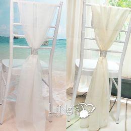 2019 cadeira de casamento de cetim cobre rosa 2017 Nova Chegada Cadeira de Casamento Caixilhos de Alta Qualidade 54 * 180 cm Cadeira Branca Caixilhos com fivela De Prata De Brilho