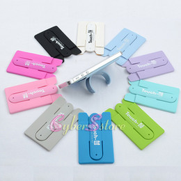 Wholesale Card Bracket - Universal Finger Touch with ID Card Slot Holder Stander Sticker Bracket Mounts Stents Silicone Back For iPhone Samsung Mobile phone