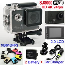 Wholesale Wholesale Used Car Batteries - Real 4K 24FPS WiFi Action Camera Waterproof 1080P Full HD Sports Camera Helmet Video Car DVR SJ8000 +2 Battery+bracket +Car Charger