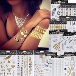 Wholesale Temporary Tattoo Sticker Sex - Metalic Tatoos Gold Metallic Temporary Flash Tattoos Sex Products Henna Metal Bling Tatouage Body Paint Stickers body art Free Shipping