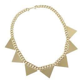 Wholesale Gold Triangle Spiked Necklace - Wholesale-New Necklace Gold Color Spike Triangle Steampunk Style Choker Necklace Fashion Choker For Women 4 pcs lot