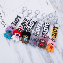 Wholesale Pvc Finder - High Quality Fashion Accessorices Cartoon Keychain 6 Styles Women Bag Backpack Keychains Silicone Car Key Pendant Free DHL D284Q