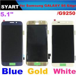 2019 galaxy s6 lcd blanco Al por mayor-azul y blanco LCD de pantalla táctil digitalizador Asamblea sin marco para Samsung GALAXY S6 EDGE G9250 rebajas galaxy s6 lcd blanco