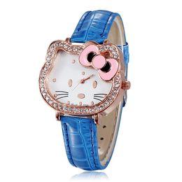Wholesale Rhinestone Animal Watches - New Fashion Rhinestone Women Watches Quartz Bowknot Cartoon Watches Cute Hello Kitty For Girl Dress 100pcs Free Shipping