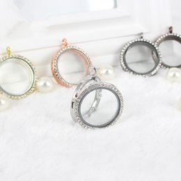 Wholesale magnetic hot plate - Hot 5PCS Lot 30mm Magnetic Round Shape Floating Charm Locket with Rhinestones Free shipping,no chains,can choose color,FL01