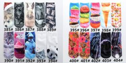 Wholesale Top Pussy - 100pairs lots Top 3D Cartoon Tatto pussy Animal skull funny tube gifts women's Hosiery Boat Ankle Socks Slipper lady unicorn