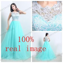 Wholesale Dresses Real Photoes - Real Photoes Stock Evening Dress Sheer Lace Tulle Evening Gowns Turquoise Prom Dresses Bridesmaid Dresses Cheap For Wedding Party And Formal