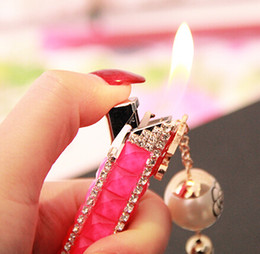Wholesale Only Plastic - Sale hot lady only creative lipstick lighter tassel pendant Inflatable lighter flame smoking lighters for cigarette free shupping