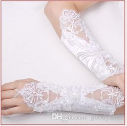 Wholesale Wholesale Color Satin Gloves - Satin+Lace Bridal Fingerless Gloves Arm Size Bowknot White Color Mix Color 20pcs Lot Fee Shipping 0614B2