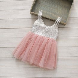 Wholesale 2015 NEW ARRIVAL baby girl kids T Sequin dress yarn stitching sequins sleeveless vest dress bowknot sparkling party ball gown gauze pink