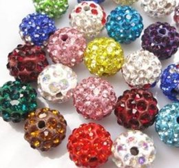 Wholesale Shamballa Ball Bracelets - Wholesale-10mm hotsale can choose color Mixed multi Micro Pave Ball Beads Crystal Shamballa Bead Bracelet Spacer lot Jewerly making bead