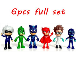 Wholesale Big Plastic Dolls - pjmasks figure 6pcs set 8-9cm Pj Masks Characters Catboy Owlette Gekko Cloak Action Figure Toys Boy Birthday Gift Plastic Dolls