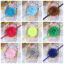 Wholesale Satin Flower Hair Band - Many colors 2015 Baby Head Bands Satin And Chiffon Flower Baby Headband Girl Hair Accessories girl's hair stickers 20PCS LOT