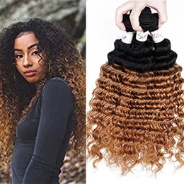 Wholesale Wet Wavy Ombre Weave - Ombre Mink Brazilian Virgin Hair 3 Bundles Remy Hair Weaves Deep Wave Weave 1b 27 Bundles Wet And Wavy Brazilian Human Hair Extension
