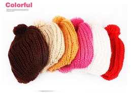 Wholesale Wholesale Color Beanies Free Shipping - Women Warm Cute Hat Baggy Shape Hot Sales Chunky Cotton Knit Knitted Free Shipping 12 Color For You