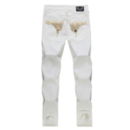 Wholesale New Designer Jeans For Men - New White american flag jeans for Men Slim Denim Straight distressed jeans men Fashion Designer Famous Brand biker jeans Plus Size 30-42