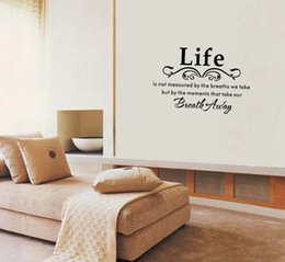 Wholesale Inspirational Vinyl Wall Decals - Life English letters pvc wall sticker is not measured Vinyl Wall Home Decor Decal Inspirational Adorable,WALL ART STICKER