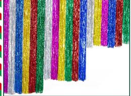 Лазерный дождь занавес партии свадебный фон украшения 9.5cmx100cm металлический мерцание кисточкой номер день рождения праздничный рождественский декор поставки подарок от