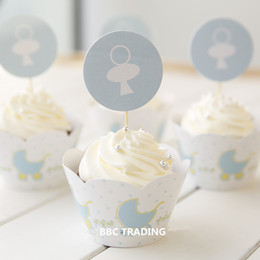 Wholesale Wholesale Baby Blue Cupcake Cups - Blue Baby Type Bulk 24pcs lot Muffin Cupcake Decoration Cupcake Liners Cases Wrappers For Baby Shower Free Shipping