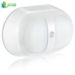 Wholesale Led Nightlights For Kids - Wholesale- Dual Sensor Indoor LED Night Light Bulb Motion Auto Sensor Battery Powered Wall Lamp for Children Kids Baby Bedroom Nightlight