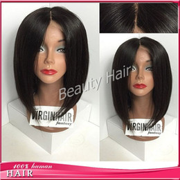 Wholesale Soft Elastic Hair Ties - Middle part bob wig soft glueless silk base full lace human hair wigs lace wig with baby hair