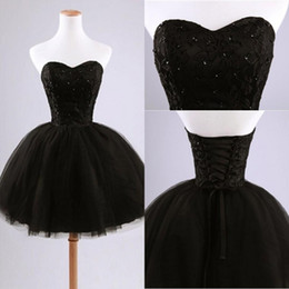 Wholesale Cute Sexy One Piece - Black Puffy Real Image Short Cute 2015 Prom Dresses Sweetheart Neck Backless Applique Tulle Sleeveless Elegant Prom Dresses Gowns Party