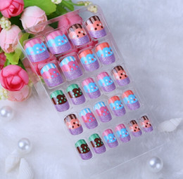 Wholesale Cakes False - Wholesale-Free shiping fashion New 24 tips Fruit and cake design Nail Art, Nail Tools, False nails, Artificial nails KR-D0k4888