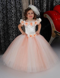 Wholesale Top Image Kids Dresses - Lovely Puffy Pink Flower Girls Dresses For Wedding Satin Ruched Jewel Neckline 2016 First Communion Kids Gowns Bow Top Quality Short Mini