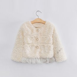 Wholesale Children Outerwear Wholesale - Kid winter outwear girls faux fur princess coat children round collar lace fleece outerwear lady style girl fleece coat A0001