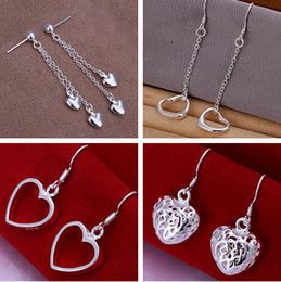Wholesale Love Dangle Earrings - 925 Silver jewelry Charming women girls Dangle Earrings 10Pairs Multi love heart Earrings Choices 4 style Best Christmas gift