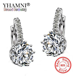 Wholesale White Cz Earrings Dangle - YHAMNI Fashion Fine Jewelry Gold Filled Dangle Earrings Luxury Brand Rhinestone Big CZ Diamond Drop Earrings For Women Wedding E73