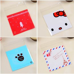 Wholesale Plastic Cookie Bags Wholesale - 100 Pcs 10x10cm Merry christmas candy Cookies Bags OPP self-adhesive bags Plastic gift bag Wedding home party Food packaging kids birthday