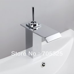 Wholesale Single Basin Mixer - New Ceramic Single Handle Deck Mounted Brass Waterfall Chrome Finish Basin Mixer Tap Bathroom Vanity Faucet AD-92338