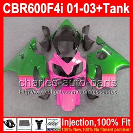 Wholesale Honda Cbr F4i Lights Fairings - +Tank For HONDA CBR600 F4i 01-03 CBR 600 Pink green F4i 2L7298 Injection FS 600F4i 01 02 03 NEW Light Pink CBR600F4i 2001 2002 2003 Fairing