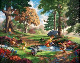 Wholesale Pooh Figures - Free shipping,Thomas Kinkade,Winnie-The-Pooh,Alan Alexander Milne,Decor Prints Realistic Oil Painting Printed On Canvas -1252