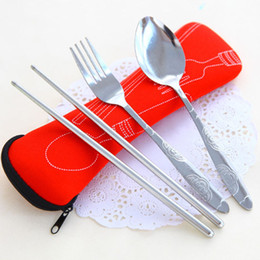 Wholesale Wholesale Travel Bags China - 3 Pcs lot New Fork Spoon Chopstick Travel Stainless Steel Cutlery Portable Bag Picnic