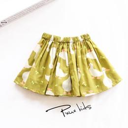Wholesale Girl Goose - 2015 Baby Girls Print Goose Cartoon Skirts Kids Girl Summer Cotton Ruffle TuTu Princess Dress Children's Clothing Babies Clothes BY0000