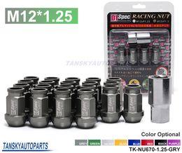 Wholesale Open Wheels - Tansky - D1 Spec Open End Wheel Lug Nuts With Lock Gray M12X1.25 20pcs With Lock For Nissan Subaru Suzuki TK-NU670-1.25-GRY