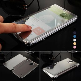 Wholesale Smart Flip Cell Phones - Note 4 Note 5 Luxury Clear Smart View Electroplating Mirror Flip Leather Cell Phone Cases For Samsung Galaxy Note 4 Accessories