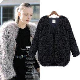 Wholesale Loose Long Knitwear - Wholesale-New 2015 for Winter Coat Women Hot Sale Fashion Women Coat Knitwear Long Sleeve Loose Faux Fur Cardigan Winter Coat Jacket