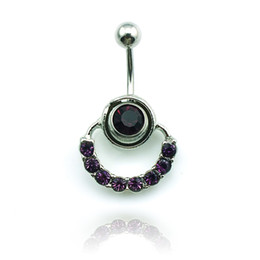 Anillos del ombligo púrpura online-Body Piercing Fashion Belly Button Rings Barbell de acero inoxidable Dangle Purple Rhinestone Circle Navel Rings Jewelry
