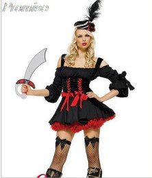 Wholesale Devil Girls Uniform - Wholesale-Hot Cosplay Pirate Queen costume Halloween Costumes for Women RPG sexy devil witch princess girl dress uniforms