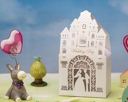 Wholesale Castle Candy - 2016 New Arrival 100pcs white castle wedding favor box laser cut romantic candy bag free shipping