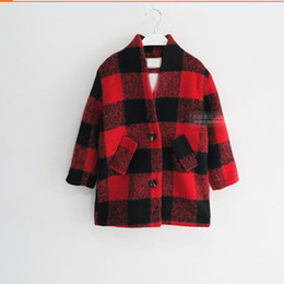 Wholesale Trench Coats For Babies - Wholesale-New Arrival Girls wool coat winter children's grid jackets for girls fashion plaid baby girls overcoat trench girls coat