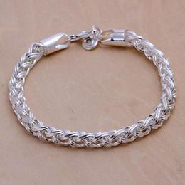 Pulsera de enlace de la libra esterlina online-Venta caliente mejor regalo 925 plata Twisted Circle Pulsera DFMCH070, nueva moda 925 pulseras de enlace de cadena de plata